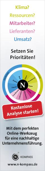 Klima? Ressourcen? Mitarbeiter? Lieferanten? Umsatz? Setzen Sie Prioritäten! Kostenlose Analyse sterten! Mit dem perfekten Online-Werkzeug für eine nachhaltige Unternehmensführung. www.n-kompass.de