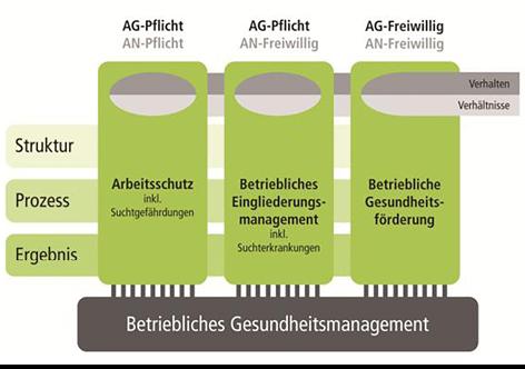 Drei Säulen eines Betrieblichen Gesundheitsmanagements. Quelle: Giesert, Reiter, Reuter 2013