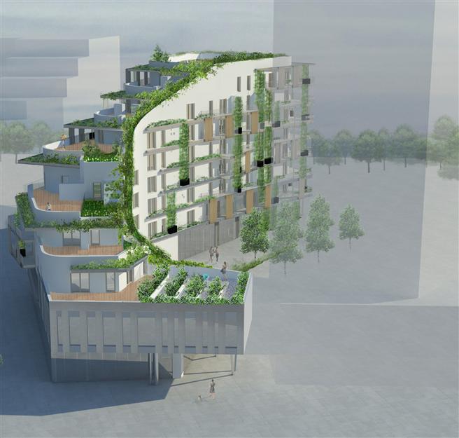 Leben in einem futuristischen Wohnobjekt... // Illustration: Vienna International Engineers