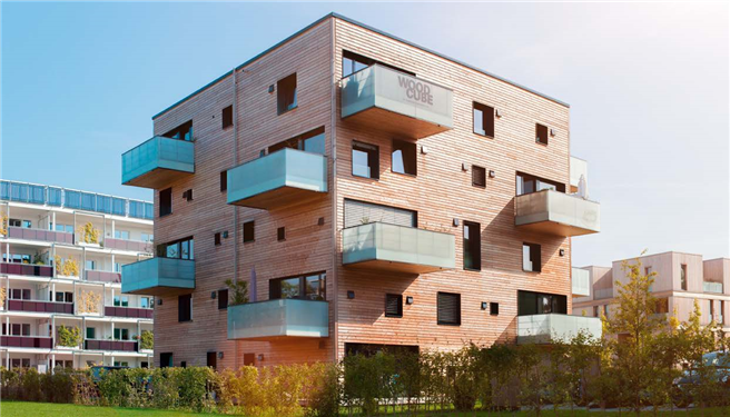 Blickfang in Hamburg-Wilhelmsburg: der Woodcube. © DeepGreen Development