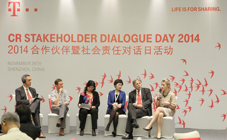 Podiumsdiskussion in Shenzhen (v.l.n.r.): Jeremy Prepscius, Matthew Collins, Xiaodan Zhang, Judy Wang, Dr. Joachim Schwalbach, Eva Wimmers