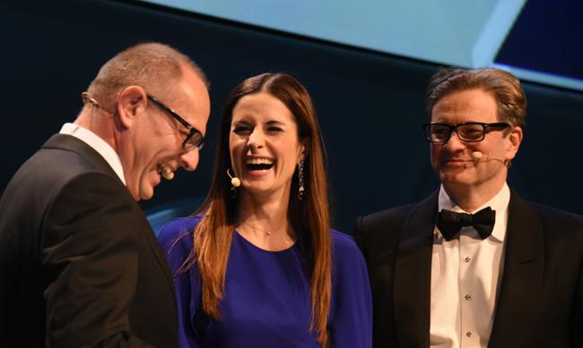 Der britische Schauspieler Colin Firth und seine Frau Livia wurden als glaubwürdige Vorbilder für soziales und ökologisches Engagement prämiert. Foto: Frank Fendler, Deutscher Nachhaltigkeitspreis