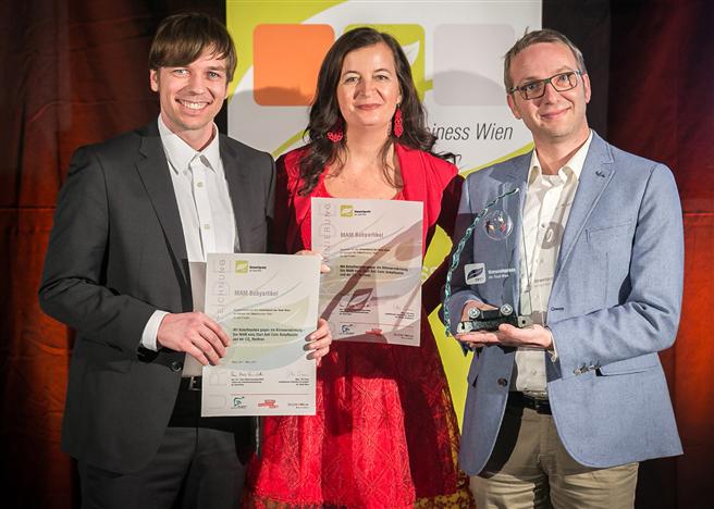 Die feierliche Überreichung des Wiener Umweltpreises an MAM Babyartikel. Foto: Houdek_PID