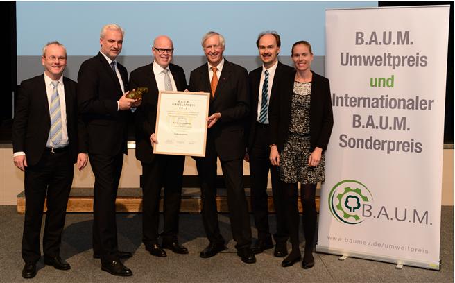 Auf der Jahrestagung des Bundesdeutschen Arbeitskreises für Umweltbewusstes Management erhielt das VDMA-Mitglied ebm-papst aus Mulfingen, den B.A.U.M.-Umweltpreis am 28. September in Dortmund. © Luigi Girodano / B.A.U.M. e.V.