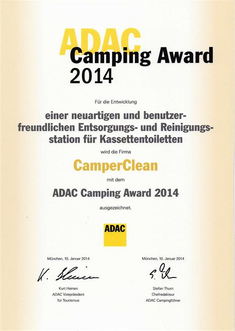 CamperClean erhielt den ADAC Award 2014 für vorbildliche Innovation und Ökologie. © CamperClean