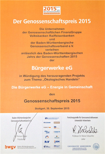 Urkunde des Genossenschaftspreises © Bürgerwerke eG