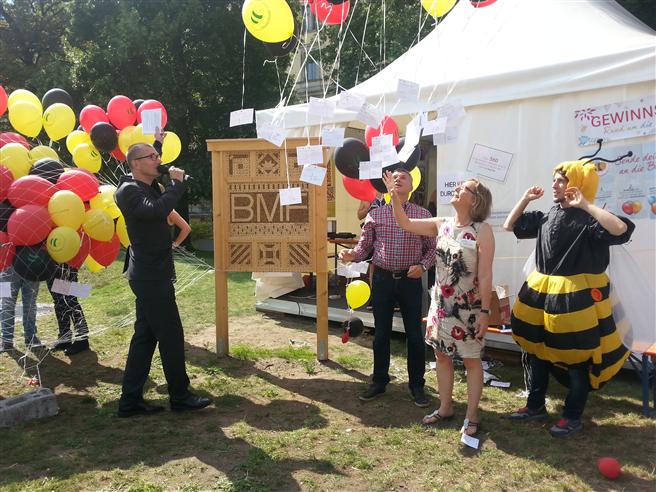 Das Aufstellen der Wildbienen-Nisthilfe ist der Auftakt der Kooperation zwischen der Stiftung für Mensch und Umwelt und dem Bundesfinanzministerium. © Cornelis Hemmer