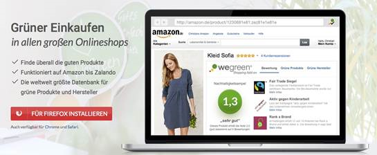 Das WeGreen Shopping Add-on revolutioniert den Onlineeinkauf. © WeGreen UG