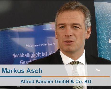 Markus Asch, Vice Chairman of the Management Board Alfred Kärcher GmbH & Co. KG, zum nachhaltigen Geschäftsmodell seines Unternehmens und zur Nachhaltigkeitsinitiative Blue Competence. Foto: VDMA