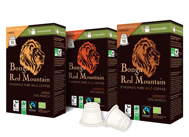 Bonga Red Mountain: Premium-Wildkaffee verpackt in der ersten zertifizierten, kompostierbaren Kaffeekapsel. Erhältlich im Bio-Fachhandel in den Sorten Lungo, Ristretto und Espresso. Foto: Original Food