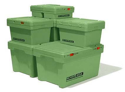 Die neuen memo Boxen aus Recyclingkunststoff helfen mit, die Treibhausgasemissionen zur verringern. Foto: memo AG