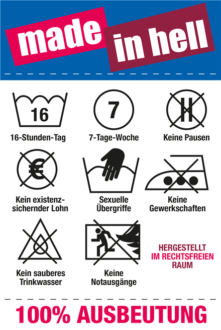 Infografik 'Made in Hell' zu Arbeitsbedingungen im globalen Süden. © Christliche Initiative Romero
