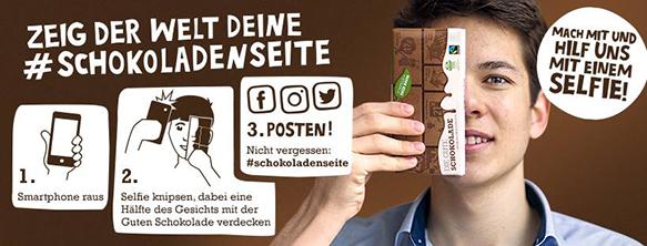 Süße Verführung: Felix Flinkbeiner setzt auf Schokolade, um seine Botschaft zu senden. Helfen Sie jetzt mit, Stück für Stück die Welt zu retten. Foto: Claus Biegert