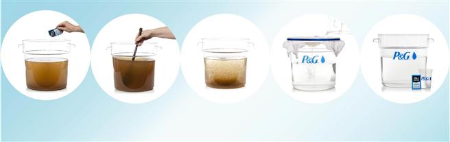 In nur 30 Minuten können 10 Liter potenziell tödliches Wasser zu hygienischem und sauberem Trinkwasser aufbereitet werden. © P&G