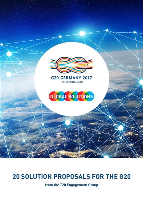 """Die sogenannten T20 haben zentrale Herausforderungen für die G20 formuliert und Lösungsvorschläge entwickelt, die sie Ende Mai auf dem T20-Gipfel """"Global Solutions' unter dem Leitmotiv """"Recoupling the world' der Bundesregierung überreicht haben."""
