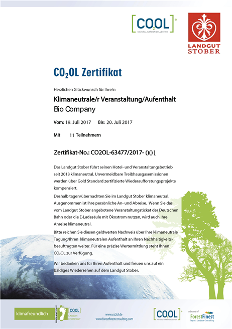 Ab sofort bekommt jeder Gast, ob individuell oder geschäftlich, vom Landgut Stober die Urkunde für seinen klimaneutralen Aufenthalt. © Landgut Stober