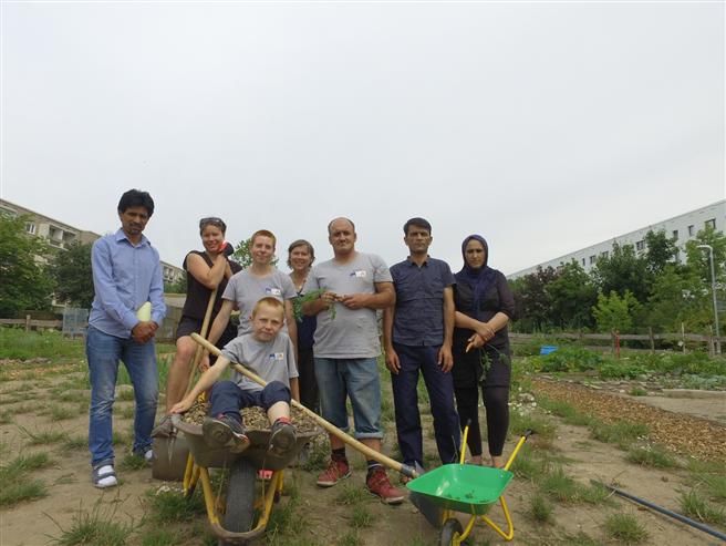 Der Gemeinschaftsgarten Bunte Beete wurde und seine engagierten Gärtner wurden als ''Garten der Integration'' ausgezeichnet. © Villa Jühling e.V.
