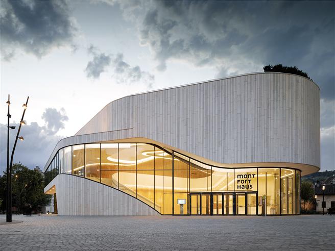 Für das Montforthaus in Vorlarlberg wurde Jung mit dem österreichischen Staatspreis für Architektur und Nachhaltigkeit geehrt. © Mathias Baumann