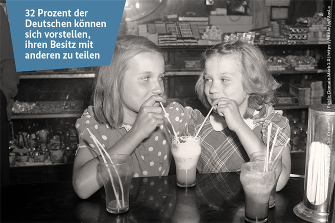 Zahl der Woche - Sharing © Girls Sharing an Ice Cream Soda | Public Domain Mark 1.0 | https://flic.kr/p/f8osLa
