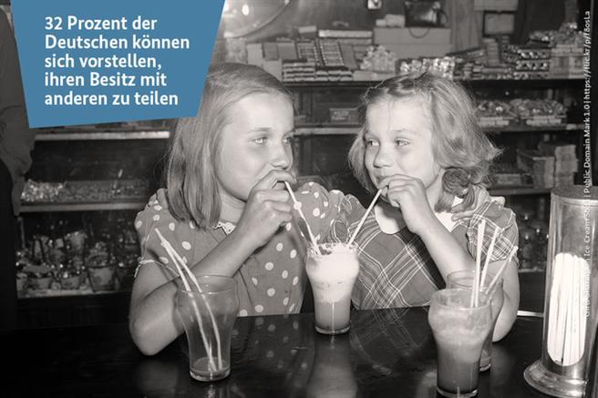 Zahl der Woche - Sharing © Girls Sharing an Ice Cream Soda | Public Domain Mark 1.0 | https://flic.kr/p/f8osLa