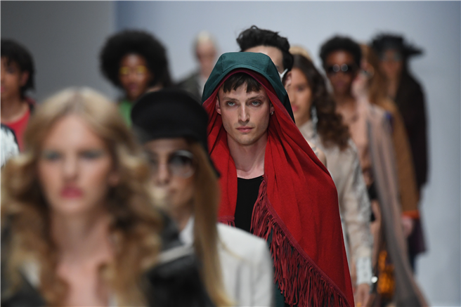 Models walk the runway at the Greenshowroom Selected show during the Berlin Fashion Week Spring/Summer 2019 at ewerk on July 3, 2018 in Berlin, Germany. © John Phillips/Getty Images for Messe Frankfurt. www.thefashioncredits.com