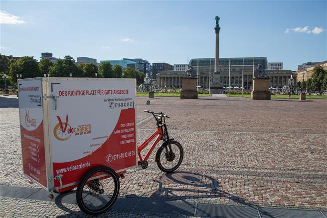 Kunden der memo AG in der Innenstadt von Stuttgart werden seit Juli 2018 mit Elektrolastenrädern der Velocarrier GmbH beliefert. © Velocarrier GmbH