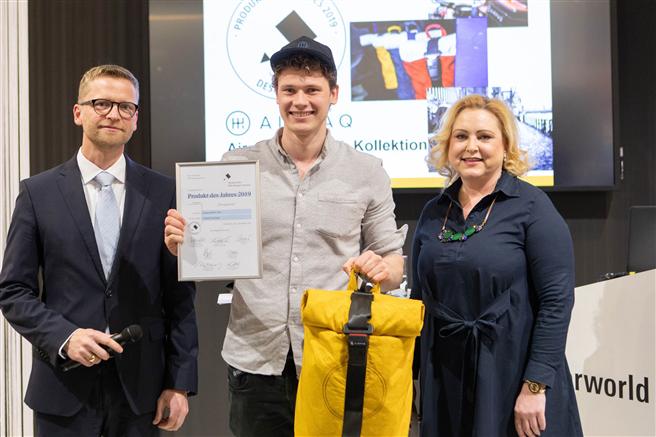 Das Kölner Upcycling-Rucksack-Startup Airpaq überzeugt in der Kategorie 'Design' mit nachhaltigem Konzept. © Airpaq UG