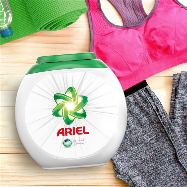 Die Ambition von Ariel ist es, eine bessere Art der Reinigung zu erfinden, um in wichtigen Bereichen wie Energie und Wasser 50 % weniger Ressourcen zu verbrauchen. © P&G