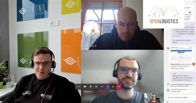 Sebastian Kremer (links), Manuel Drescher (oben), Stefan Seufert (unten) und Bastian Späth (kleines Bild) während des Hackathons #WirvsVirus © EIKONA Logistics