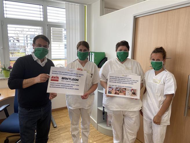 Die Hermann Bantleon GmbH stellte dem Altenheim St. Elisabeth in Senden umgehend nach Bekanntwerden des Notstands 75 Atemschutzmasken zu Verfügung. © St. Elisabeth