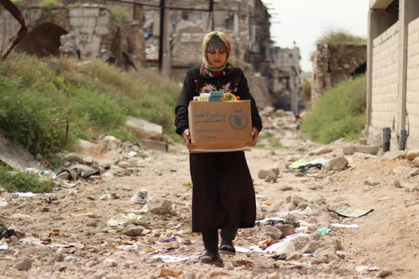 WFP Food distribution in Aleppo, Syria. Photo: WFP/ Khudr Alissar WFP