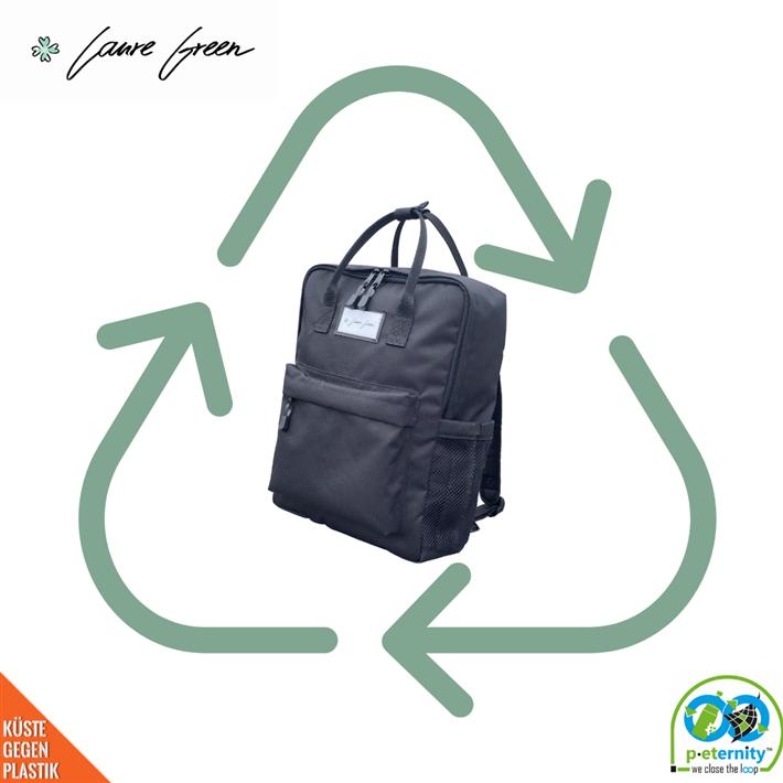 Wir produzieren unseren Rucksack 'Green Bottle' nicht nur aus PET-Flaschen, sondern du kannst uns sogar deinen getragenen 'Green Bottle' zurücksenden. © Laure Green