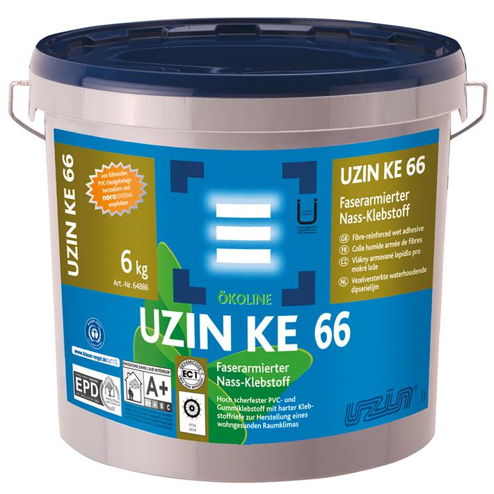 UZIN KE 66, der faserarmierte Nass Klebstoff ist eines der Produkte, welches zukünftig das Bio Mass Balance Label tragen darf. © Uzin Utz Group